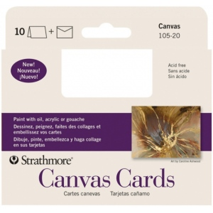 "Strathmore® Announcement Size Canvas Cards 3.5"" x 4.75"": White/Ivory, Envelope Included, Card, 10 Cards, 3 1/2"" x 4 7/8"", Canvas, Canvas, 115 lb, (model ST105-20), price per 10 Cards"