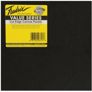 "Fredrix® Value Series Cut Edge 8"" x 8"" Canvas Panels 6-Pack: Black/Gray, Panel, 8"" x 8"", Acrylic, (model T37361), price per pack"