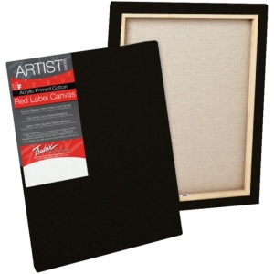 "Fredrix® Artist Series Red Label Red Label 8"" x 10"" Standard Stretched Black Canvas: Black/Gray, Panel, Gesso, 8"" x 10"", 11/16"", 11/16"" x 1 9/16"", Stretched, (model T50129), price per each"