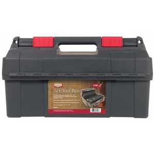 "Heritage Arts™ Large Art Tool Box 17 3/4"" x 9"" x 9 1/2"": Black/Gray, Plastic, 9""l x 17 3/4""w x 9 1/2""h, Storage Box, (model HPB1809), price per each"