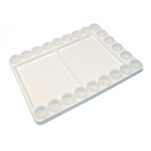"Heritage Arts™ Heavy-Duty Plastic Palette with Removable Cups: White/Ivory, Plastic, 22 Wells, Rectangle, 11 3/4"" x 15 3/4"", Cup, (model HPP1115), price per each"