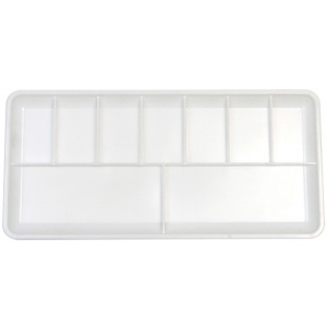 "Heritage Arts™ 9-Well Plastic Palette: White/Ivory, Plastic, 9 Wells, Rectangle, 3 3/8"" x 7 1/8"", Tray, (model HPP73), price per each"