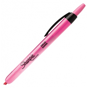 Sharpie® Smear Guard® Fluorescent Pink Retractable Highlighter: Red/Pink, (model SN24689), price per each