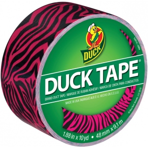 Duck Tape® Pink Zebra Tape (Roll): Red/Pink, Roll, 10 yd, Pattern, (model DT280338), price per each