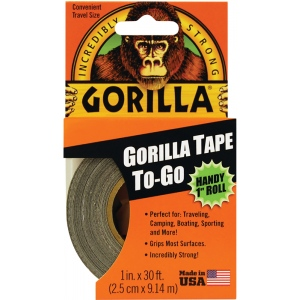 "Gorilla Glue® 1"" x 30' Tape: Black/Gray, Roll, 1"" x 30', Utility, 1"", (model G61001), price per each"