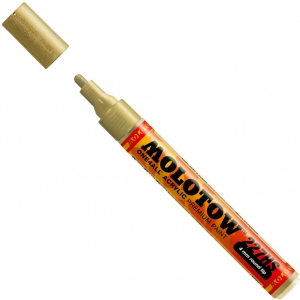 MOLOTOW™ 4mm Round Tip Acrylic Pump Marker Metallic Gold: Metallic, Paint, Refillable, 4mm, Paint Marker, (model M227306), price per each