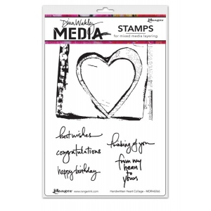 Ranger - Dina Wakley Media - Cling Stamps - Handwritten Heart Collage