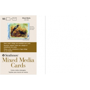 "Strathmore® Mixed Media Full Size Cards 50-Pack: White/Ivory, Card, 50 Cards, 5"" x 6 7/8"", Mixed Media, 140 lb, (model ST105-262), price per 50 Cards"