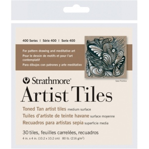 "Strathmore® Toned Tan Sketch Artist Tiles: White/Ivory, Tile, 4"" x 4"", Tile, 80 lb, (model ST105-977), price per pack"