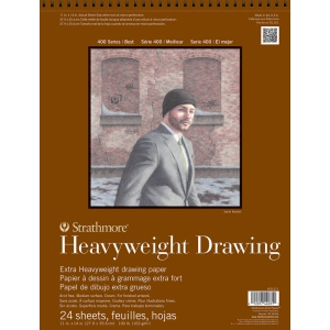 "Strathmore® 400 Series 11"" x 14"" Heavyweight Drawing Pad: Wire Bound, White/Ivory, Pad, 24 Sheets, 11"" x 14"", Medium, Drawing, 100 lb, (model ST400-211), price per 24 Sheets pad"