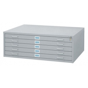 "Safco Steel Flat File: 5 Drawers, Gray,  16 1/2"" x 40 3/8"" x 29 3/8"""