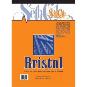 "Seth Cole 19"" x 24"" Smooth Finish Bristol Board Pad: Smooth, Pad, 12 Sheets, 19"" x 24"", 100 lb"