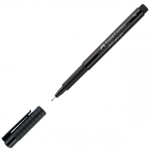 Faber-Castell® PITT® Artist Pen Black Fine: Black/Gray, India, Pigment, Fine Nib, (model FC167299), price per each