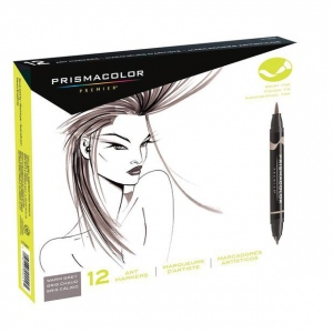 Prismacolor® Double Ended Brush Marker 12-Color Warm Grey Set: Multi, Double-Ended, Alcohol-Based, Dye-Based, Brush Nib