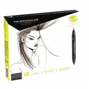 Prismacolor® Double Ended Brush Marker 12-Color French Grey Set: Multi, Double-Ended, Alcohol-Based, Dye-Based, Brush Nib