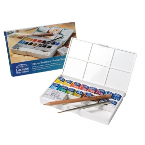 Winsor & Newton™ Cotman™ Watercolor Deluxe Sketchers Pocket 16-Half Pan Box Set: Multi, Pan, Watercolor, (model 0390060), price per set