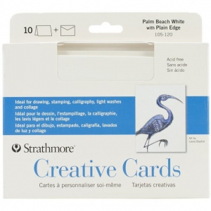 "Strathmore® 5 x 6.875 Palm Beach/Plain Edge Creative Cards 10-Pack: Blue, White/Ivory, Envelope Included, Card, 10 Cards, 5"" x 6 7/8"", 80 lb, (model ST105-120), price per 10 Cards"