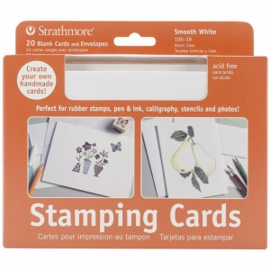 "Strathmore® Stamping Cards 20-Pack: White/Ivory, Envelope Included, Card, 20 Cards, 5"" x 6 7/8"", Smooth, 80 lb"