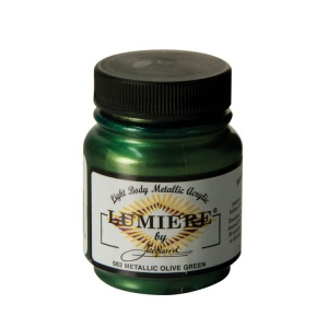 Lumiere® Pigmented Acrylic Paint Metallic Olive Green: Metallic, Jar, 2.25 oz, Acrylic, (model J562), price per each