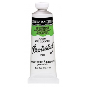 Grumbacher® Pre-Tested® Artists' Oil Color Paint 37ml Phthalo Yellow Green: Green, Tube, 37 ml, Oil, (model GBP210GB), price per tube