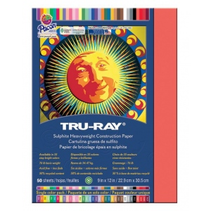 "Pacon® Tru-Ray® Construction Paper Red: Red/Pink, Sheet, 50 Sheets, 9"" x 12"", (model PAC103030), price per 50 Sheets"