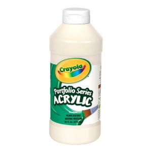 Crayola® Portfolio Series Acrylic Paint Pearl Mixing Medium: White/Ivory, Bottle, 16 oz, Acrylic, (model BAS360), price per each
