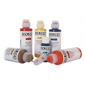 Golden® Fluid Acrylic 1 oz. Nickel Azo Yellow: Yellow, Bottle, 1 oz, 30 ml, Acrylic, (model 0002225-1), price per each