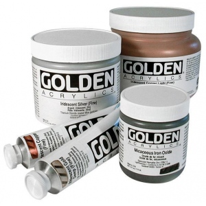 Golden® Heavy Body Iridescent Acrylic 4 oz. Gold Mica Flakes (small): Metallic, Jar, 118 ml, 4 oz, Acrylic, (model 0004076-4), price per each