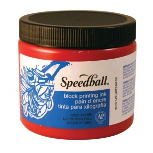 Speedball® Water Soluble Block Printing Ink 16 oz. Red: Red/Pink, Tube, Water Soluble, 16 oz, (model H3701), price per each