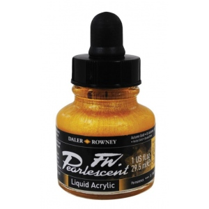 FW Pearlescent Liquid Acrylic Ink 1 oz. Autumn Gold: Metallic, Bottle, Acrylic, 1 oz