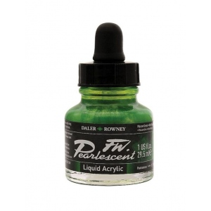 FW Pearlescent Liquid Acrylic Ink 1 oz. Macaw Green: Green, Bottle, Acrylic, 1 oz, (model FW603201115), price per each