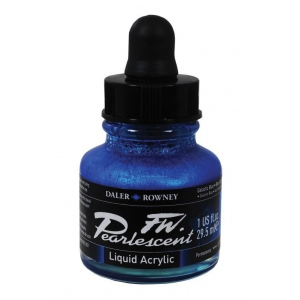 FW Pearlescent Liquid Acrylic Ink 1 oz. Galactic Blue: Blue, Bottle, Acrylic, 1 oz, (model FW603201112), price per each