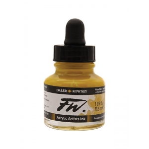 FW Liquid Artists' Acrylic Ink 1 oz. Yellow Ochre: Yellow, Bottle, Acrylic, 1 oz