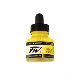 FW Liquid Artists' Acrylic Ink 1 oz. Process Yellow: Yellow, Bottle, Acrylic, 1 oz