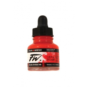 FW Liquid Artists' Acrylic Ink 1 oz. Scarlet: Red/Pink, Bottle, Acrylic, 1 oz, (model FW160029567), price per each