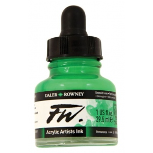 FW Liquid Artists' Acrylic Ink 1 oz. Emerald Green: Green, Bottle, Acrylic, 1 oz, (model FW160029335), price per each