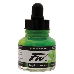 FW Liquid Artists' Acrylic Ink 1 oz. Light Green: Green, Bottle, Acrylic, 1 oz