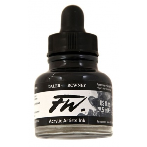 FW Liquid Artists' Acrylic Ink 1 oz. Payne's Gray: Black/Gray, Bottle, Acrylic, 1 oz, (model FW160029065), price per each