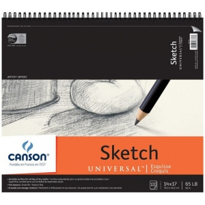 "Canson® Artist Series Universal™ 14"" x 17"" Sketch Pad: Wire Bound, White/Ivory, Pad, 100 Sheets, 14"" x 17"", Fine, (model C100510853), price per 100 Sheets pad"