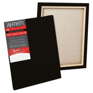 "Fredrix® Artist Series Red Label Red Label 12"" x 16"" Standard Stretched Black Canvas: Black/Gray, Panel, Gesso, 12"" x 16"", 11/16"", 11/16"" x 1 9/16"", Stretched, (model T50189), price per each"