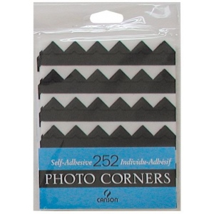 Canson® Archival Self-Adhesive Photo Corners Black: Black/Gray, Paper, 252-Pack, (model C100510395), price per 252-Pack
