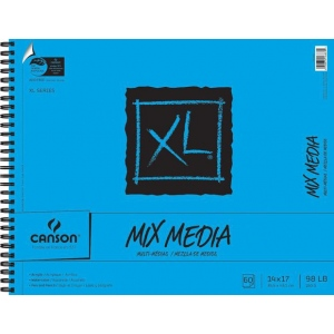"Canson® XL® 14"" x 17"" Mix Media Pad (Side Wire): Wire Bound, White/Ivory, Pad, 60 Sheets, 14"" x 17"", (model C100510930), price per 60 Sheets pad"