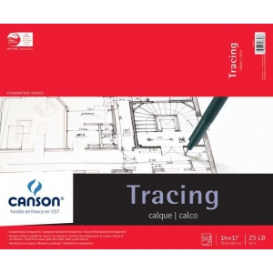"Canson® Foundation Series 14"" x 17"" Tracing Paper Pad: Fold Over, White/Ivory, Pad, 50 Sheets, 14"" x 17"", Smooth, (model C100510962), price per 50 Sheets pad"