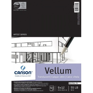 "Canson® Artist Series 9"" x 12"" Vellum Sheet Pad: Fold Over, White/Ivory, Pad, 50 Sheets, 9"" x 12"", Smooth, (model C100510983), price per 50 Sheets pad"