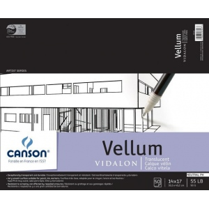 "Canson® Artist Series 14"" x 17"" Vellum Sheet Pad: Fold Over, White/Ivory, Pad, 50 Sheets, 14"" x 17"", Smooth, (model C100510985), price per 50 Sheets pad"