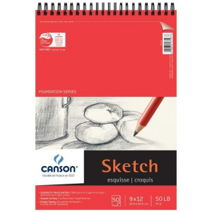 "Canson® Foundation Series 9"" x 12"" Wire Bound Sketch Pad: Wire Bound, White/Ivory, Pad, 50 Sheets, 9"" x 12"", Smooth, (model C100511029), price per 50 Sheets pad"