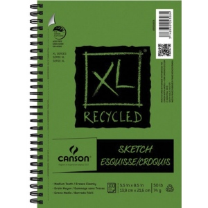 "Canson® XL® 5 1/2"" x 8 1/2"" Recycled Sketch Pad (Side Wire): Wire Bound, White/Ivory, Pad, 100 Sheets, 5 1/2"" x 8 1/2"", Medium, Sketching, (model C400026826), price per 100 Sheets pad"