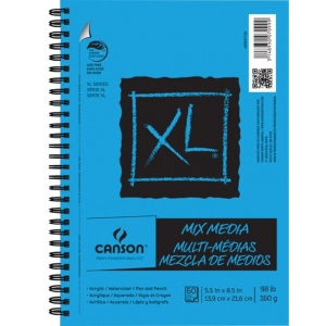 "Canson® XL® 5 1/2"" x 8 1/2"" Mix Media Pad (Side Wire): Wire Bound, White/Ivory, Pad, 60 Sheets, 60 Steets, 5 1/2"" x 8 1/2"", Fine, Mixed Media, 98 lb, (model C400037134), price per 60 Sheets pad"