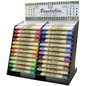 Zig®  Brushables® Marker Display Assortment: Multi, Double-Ended, Pigment, Water-Based, Brush Nib, (model MS-7700/DP12D), price per each