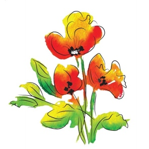 Rubbernecker Stamps - Watercolor Poppies Stamp Set